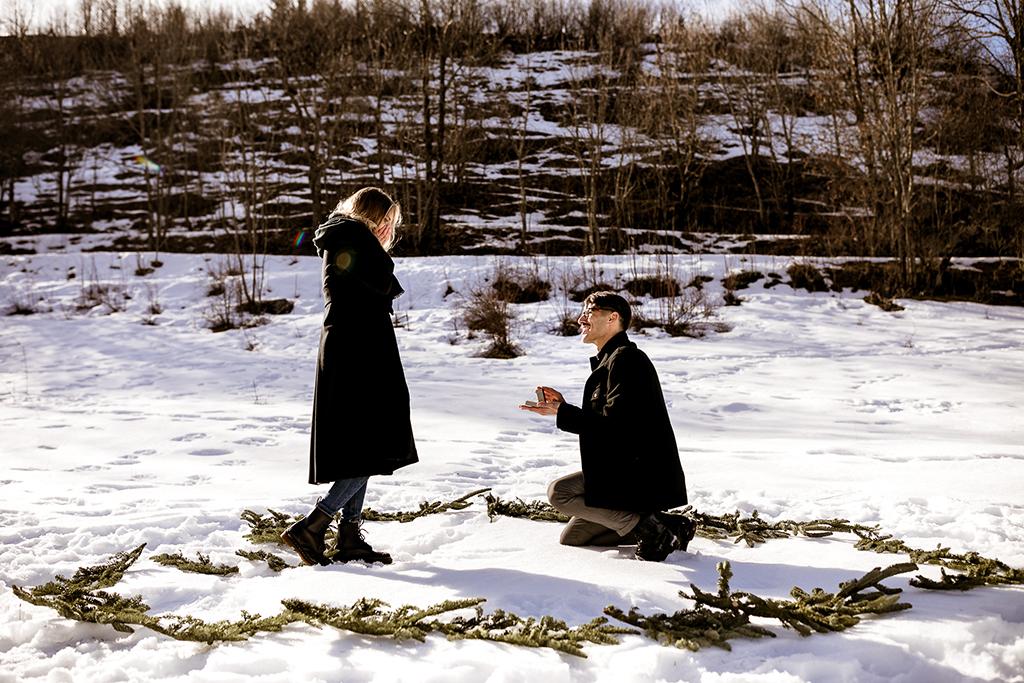 Proposta di matrimonio sulla neve